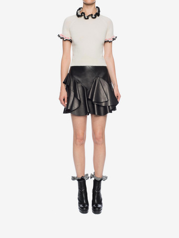 ALEXANDER MCQUEEN Ruffled Lambskin Leather Skirt Skirt Woman r