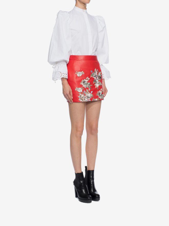 ALEXANDER MCQUEEN Embroidered Lambskin Leather Mini Skirt Skirt D d