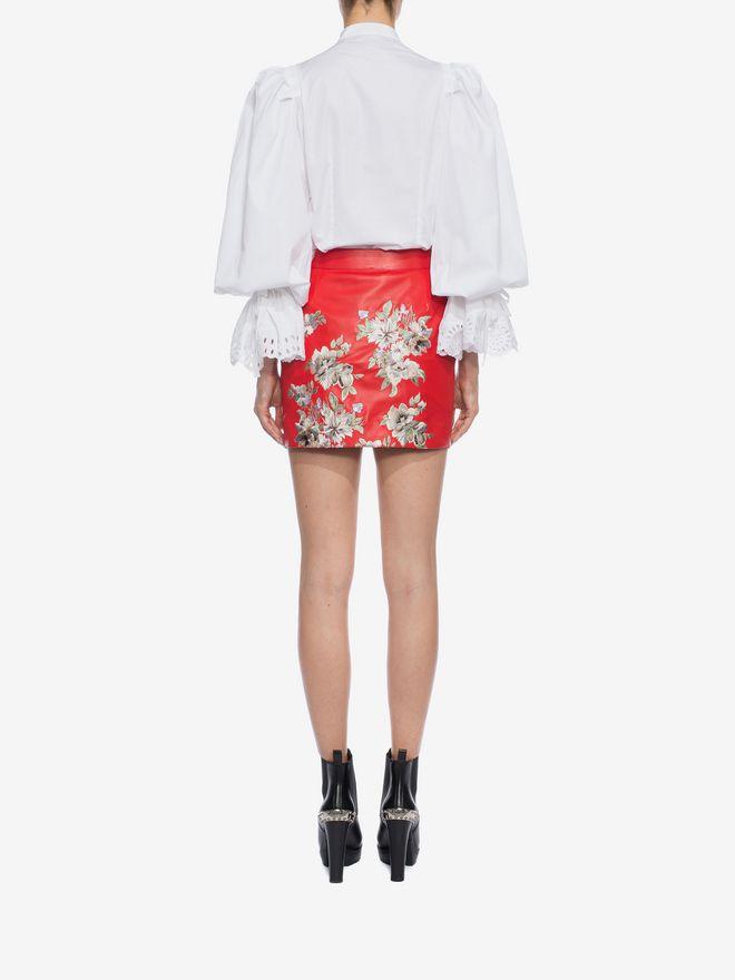 ALEXANDER MCQUEEN Embroidered Lambskin Leather Mini Skirt Skirt D e