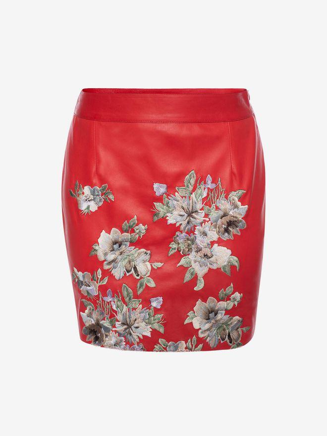 ALEXANDER MCQUEEN Embroidered Lambskin Leather Mini Skirt Skirt D f