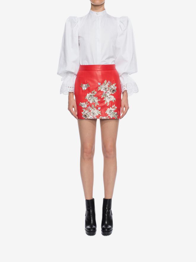 ALEXANDER MCQUEEN Embroidered Lambskin Leather Mini Skirt Skirt D r