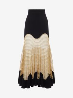 ALEXANDER MCQUEEN Skirt D Metallic Mesh Knit Skirt f