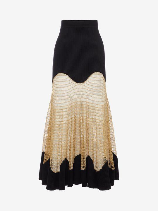 ALEXANDER MCQUEEN Metallic Mesh Knit Skirt Skirt D f