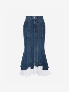 ALEXANDER MCQUEEN Gonna D Gonna Midi in Denim f
