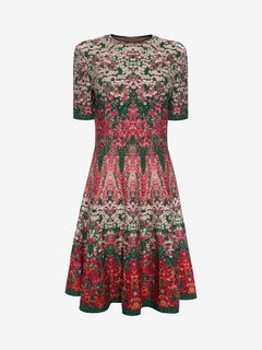ALEXANDER MCQUEEN Mini Dress Woman Flowerbed jacquard knit Mini Dress f