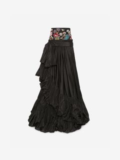 ALEXANDER MCQUEEN Skirt D Jeweled Embroidered Taffeta Skirt f
