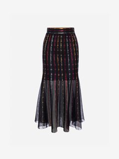 ALEXANDER MCQUEEN Skirt Woman Sheer Knit Midi Skirt f