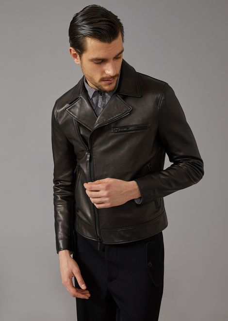 Biker Jacket In Plongè Leather for Men | Giorgio Armani | Tuggl