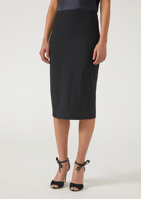 1fad2682e Pencil skirt in virgin wool with slit | Woman | Emporio Armani
