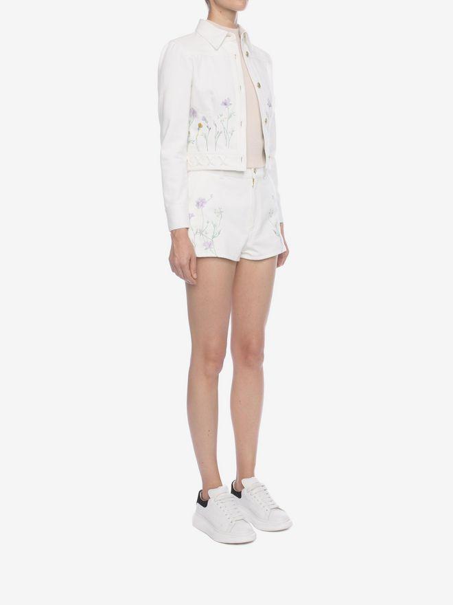 ALEXANDER MCQUEEN Embroidered Denim Shorts Trousers D d
