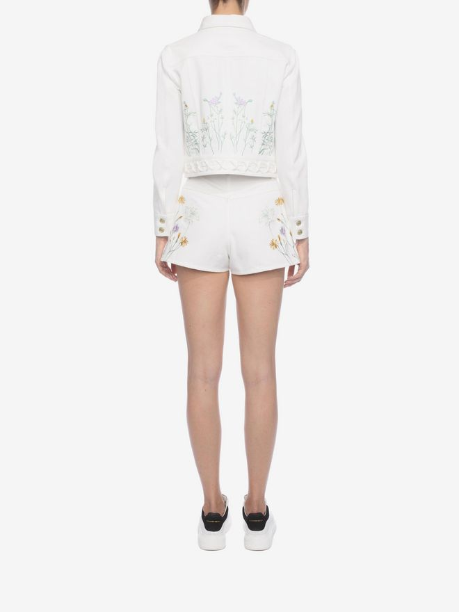 ALEXANDER MCQUEEN Embroidered Denim Shorts Trousers D e