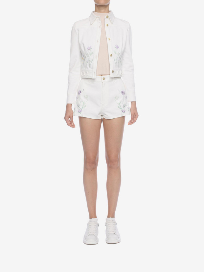 ALEXANDER MCQUEEN Embroidered Denim Shorts Trousers D r