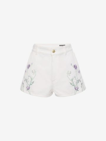 ALEXANDER MCQUEEN Embroidered Denim Shorts Trousers D f