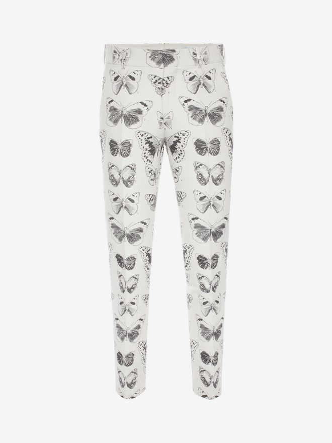 ALEXANDER MCQUEEN Moth Jacquard Trousers Tailored Pant Man f