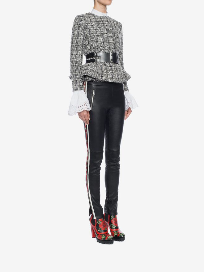 ALEXANDER MCQUEEN Lambskin Leather Leggings Trousers D d
