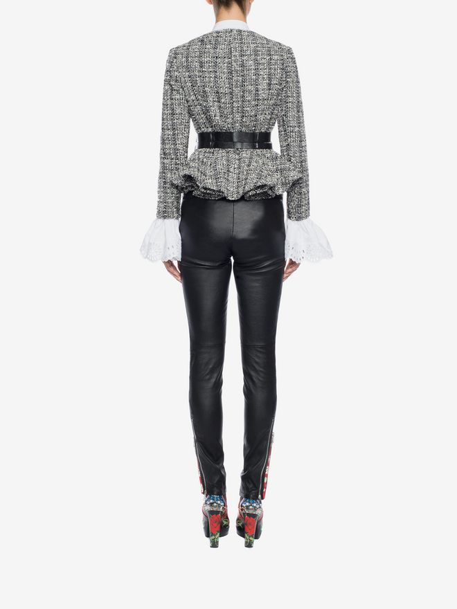 ALEXANDER MCQUEEN Lambskin Leather Leggings Trousers D e