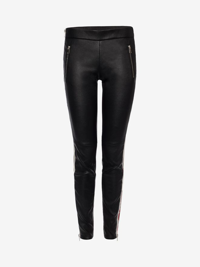 ALEXANDER MCQUEEN Lambskin Leather Leggings Trousers D f
