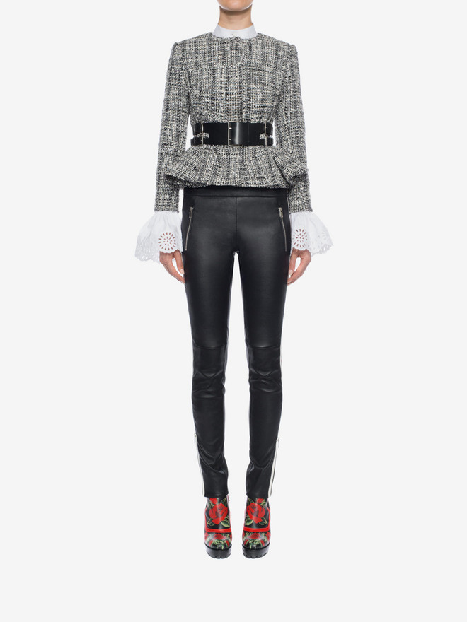 ALEXANDER MCQUEEN Lambskin Leather Leggings Trousers D r