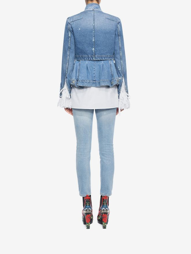 ALEXANDER MCQUEEN Cropped Fitted Denim Jeans Jeans D e