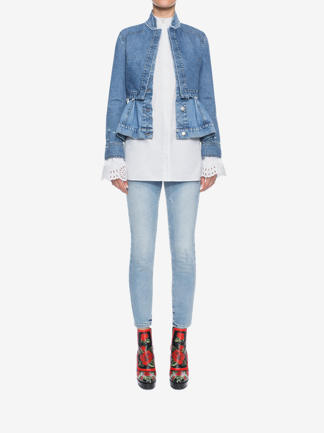 ALEXANDER MCQUEEN Cropped Fitted Denim Jeans Jeans D r