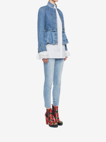 ALEXANDER MCQUEEN Cropped Fitted Denim Jeans Jeans D d