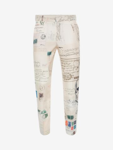 """ALEXANDER MCQUEEN """"Letters from India"""" Print Trousers Tailored Pant U f"""
