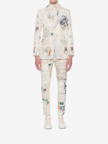 """ALEXANDER MCQUEEN """"Letters from India"""" Print Trousers Tailored Pant U r"""