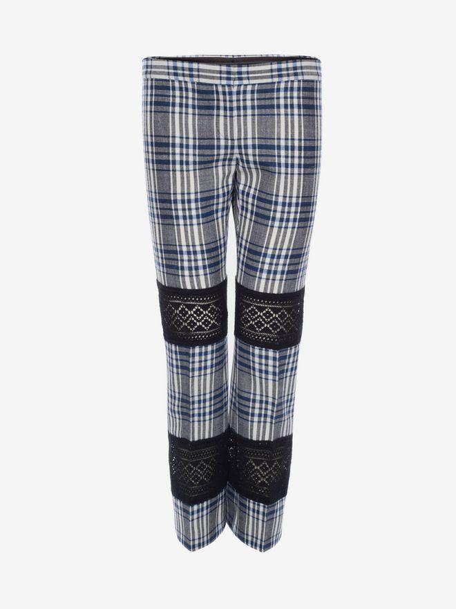 ALEXANDER MCQUEEN Macramé Celtic Check Tailored Trousers Trousers D f