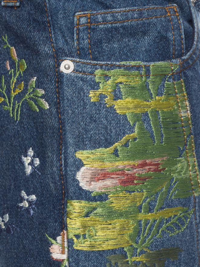 ALEXANDER MCQUEEN Embroidered Patchwork Jeans Jeans D a