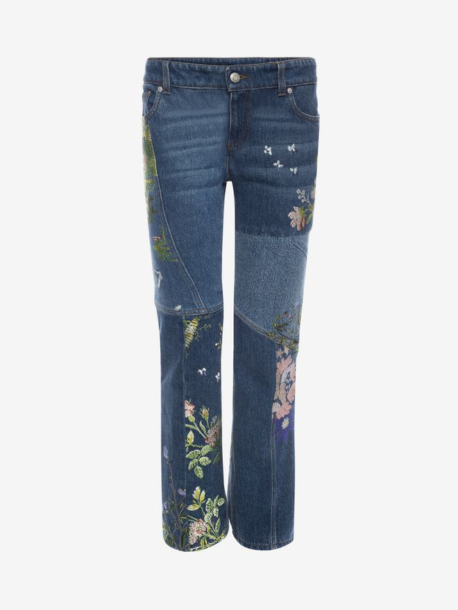 ALEXANDER MCQUEEN Embroidered Patchwork Jeans Jeans D f