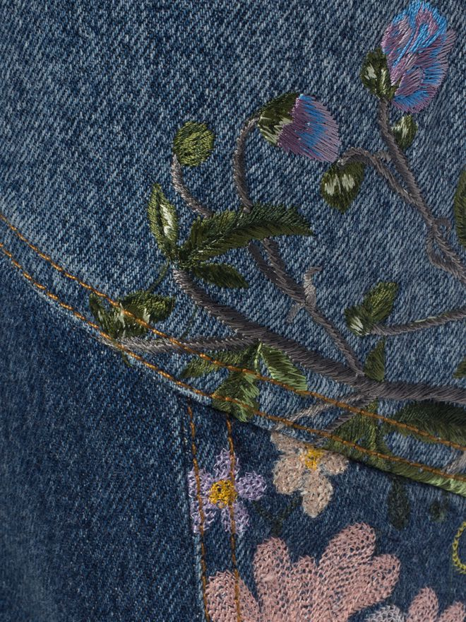 ALEXANDER MCQUEEN Embroidered Patchwork Jeans Jeans D l