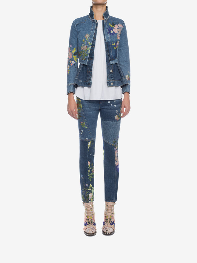 ALEXANDER MCQUEEN Embroidered Patchwork Jeans Jeans D r