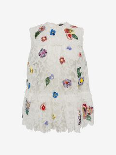 ALEXANDER MCQUEEN Top D Embroidered Trap Lace Top f