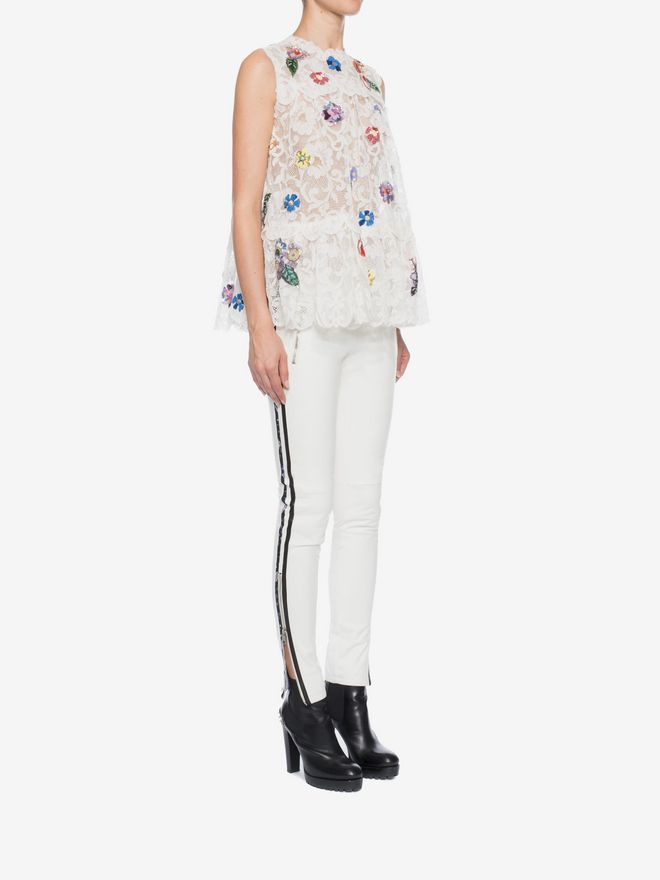 ALEXANDER MCQUEEN Embroidered Trap Lace Top Top D d