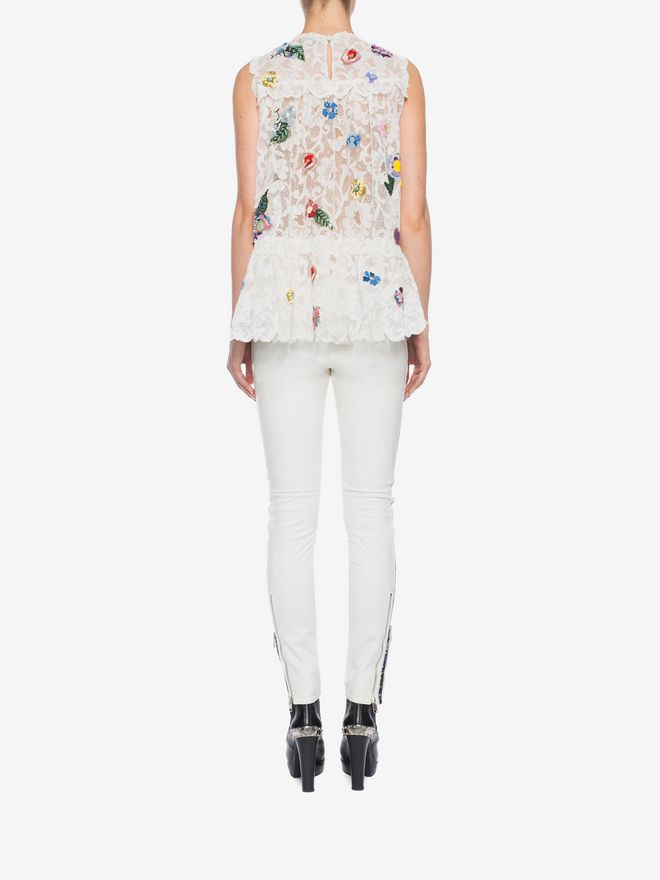 ALEXANDER MCQUEEN Embroidered Trap Lace Top Top D e