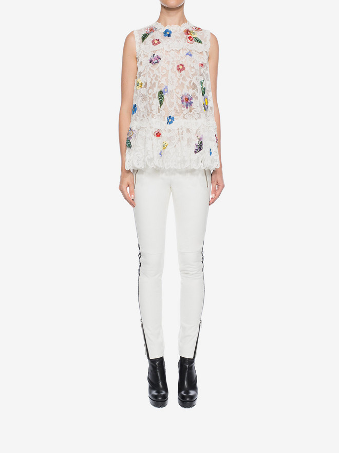 ALEXANDER MCQUEEN Embroidered Trap Lace Top Top D r