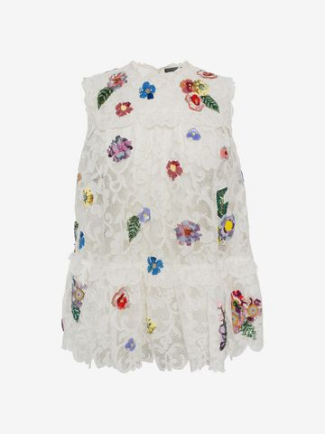 ALEXANDER MCQUEEN Embroidered Trap Lace Top Top D f