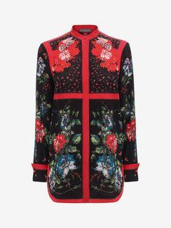 ALEXANDER MCQUEEN Shirts D Floral Mandarin Collar Shirt f