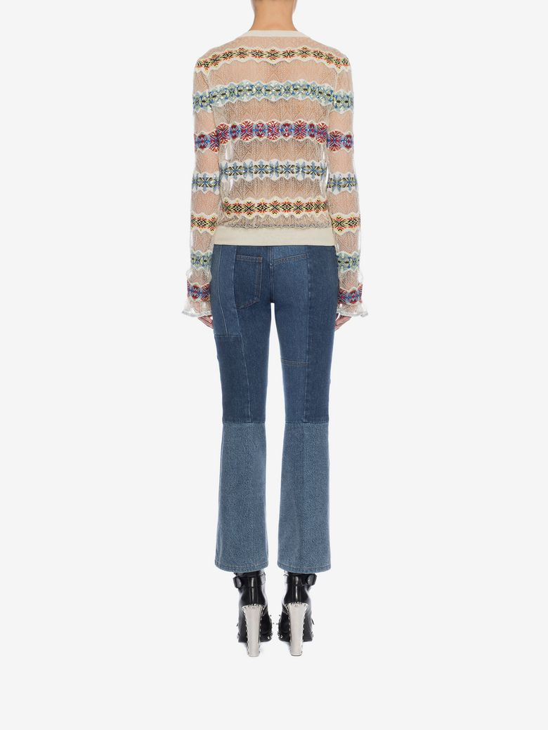 ALEXANDER MCQUEEN Lace Sweater With Fair Isle Insets, Multicolor