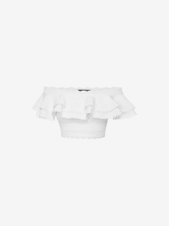 ALEXANDER MCQUEEN Off the Shoulder Cropped Top Top & Shirt D f