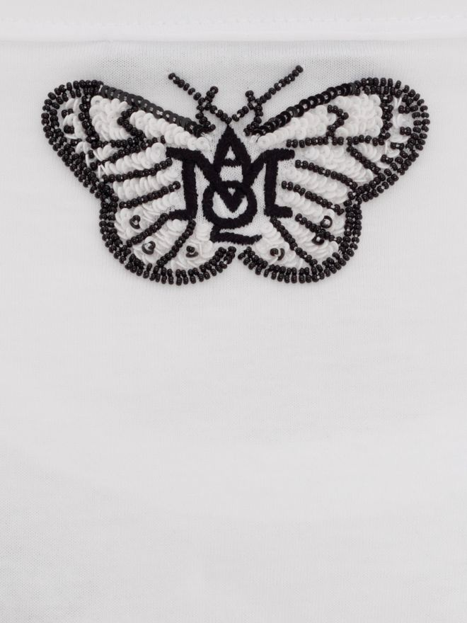 ALEXANDER MCQUEEN Butterfly Embroidered Fitted T-Shirt Top & Shirt D l