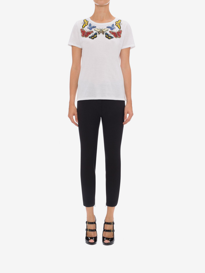 ALEXANDER MCQUEEN Butterfly Embroidered Fitted T-Shirt Top & Shirt D r