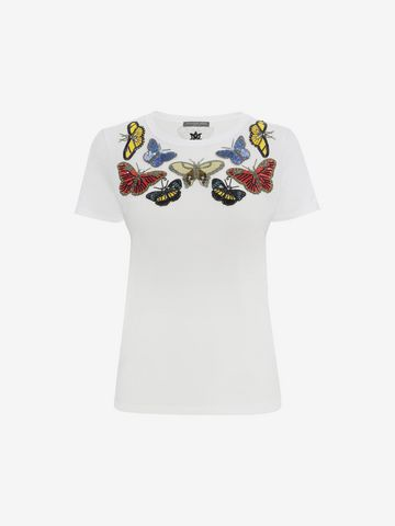 ALEXANDER MCQUEEN Butterfly Embroidered Fitted T-Shirt Top & Shirt D f