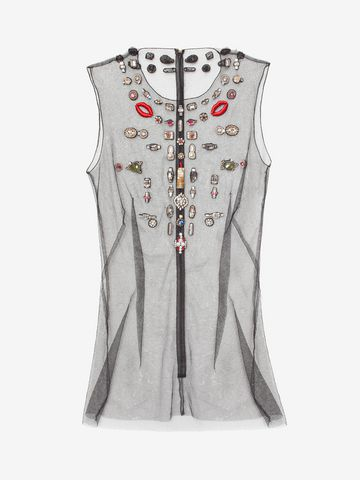 ALEXANDER MCQUEEN Embroidered Tulle Obsession Top Top & Shirt D f