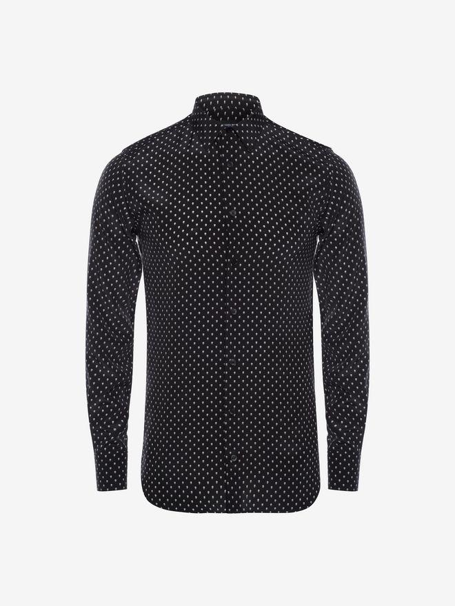 ALEXANDER MCQUEEN Mini Skull Silk Crepe Shirt Long Sleeve Shirt Man a