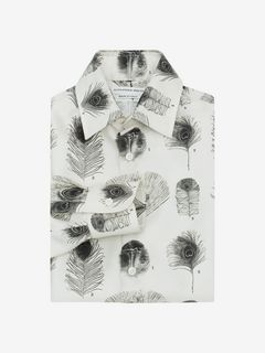 ALEXANDER MCQUEEN Long Sleeve Shirt U Peacock Feather Print Shirt f