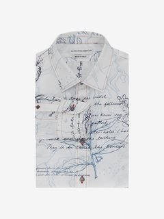 ALEXANDER MCQUEEN Long Sleeve Shirt Man Explorer Print Fitted Shirt f