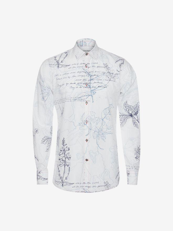 ALEXANDER MCQUEEN Explorer Print Fitted Shirt Long Sleeve Shirt Man a