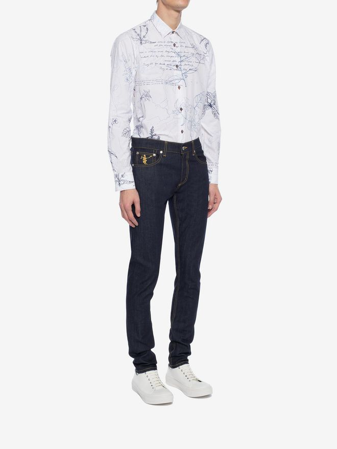 ALEXANDER MCQUEEN Explorer Print Fitted Shirt Long Sleeve Shirt Man d