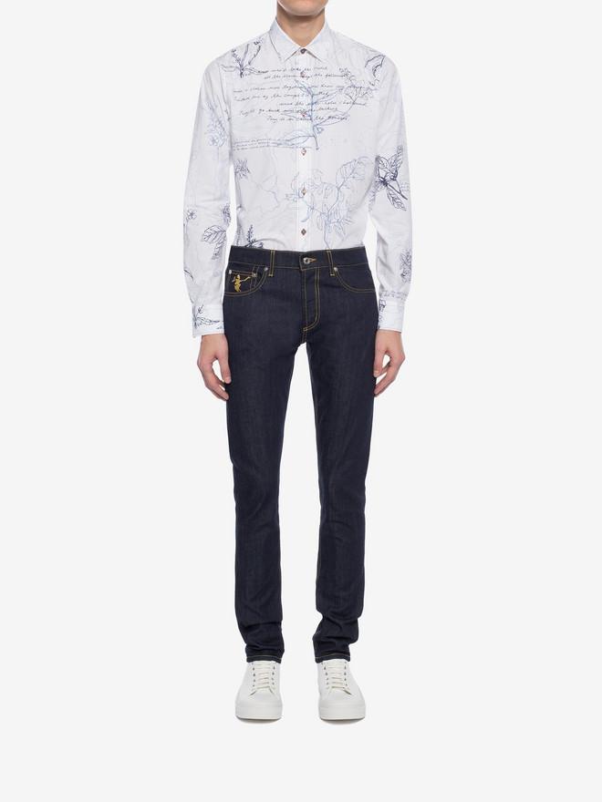 ALEXANDER MCQUEEN Explorer Print Fitted Shirt Long Sleeve Shirt Man r